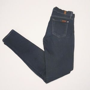 7FAM | Dark Wash Mid Rise Skinny Jeans 25